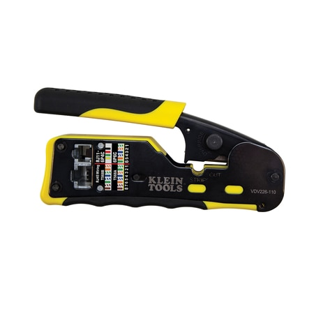 Klein Tools Ratcheting Cable Crimper / Stripper / Cutter,  for Pass-Thru™ VDV226-110
