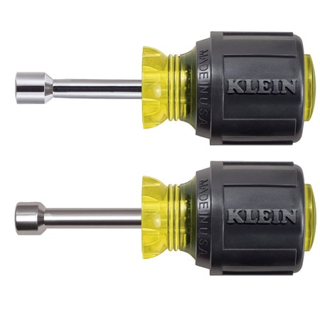 Klein Tools Nut Driver Set,  Stubby Nut Drivers with 1-1/2-Inch Shaft,  2-Piece 610