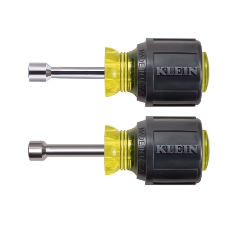Klein Tools Nut Driver Set,  Magnetic Stubby Nut Drivers,  1-1/2-Inch Shaft,  2-Piece 610M