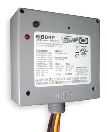 FUNCTIONAL DEVICES INC RIB RIB04P Enclosed Pre-Wired Relay,20A@300VAC,DPDT