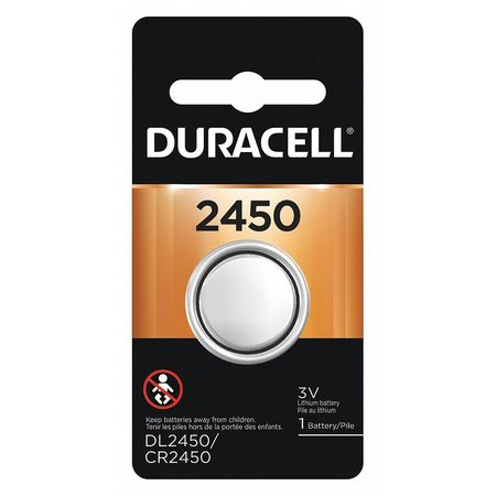 Duracell Coin Cell,  2450,  Lithium,  3V,  Voltage: 3 DL2450BPK
