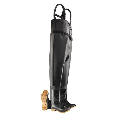 Chest Waders, Stl Toe, Mens, 13, Blk/Tan, PR
