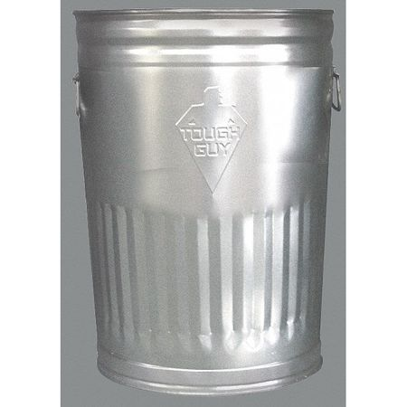 TOUGH GUY 2PYX3 Round  Silver  Trash Can
