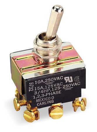 Toggle Switch, 3PDT, 10A @ 250V, Screw