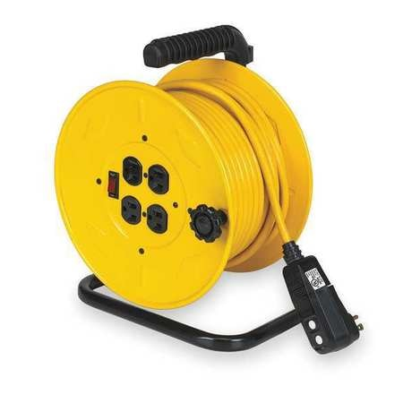 Lumapro 80 ft. 14/3 Extension Cord Reel 10 Amps 4 Outlets 120VAC Voltage 2YKR7