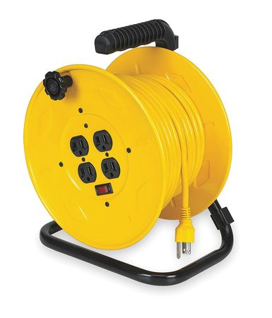 Lumapro 80 ft. 14/3 Extension Cord Reel 10 Amps 4 Outlets 120VAC Voltage 2YKR5
