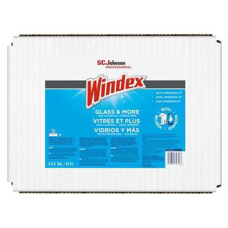 Windex Liquid Glass and Surface Cleaner,  5 gal.,  Blue,  Unscented,  Bag 696502