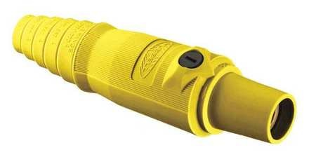Hubbell Connector, 3R,  4X,  12, Single Pin, Yellow HBL300FY