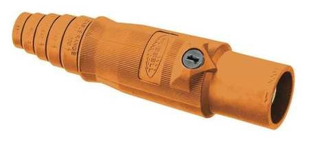 Hubbell Connector, 3R,  4X,  12, Male, Org, 2/0 to 4/0 HBL400MO
