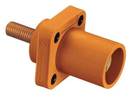 Hubbell Receptacle, 4-4/0, Male, Org, Stud, Taper HBLMRSO