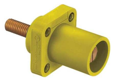 Hubbell Receptacle, 4-4/0, Male, Ylw, Threaded Stud HBLMRSY