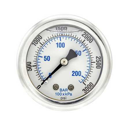 Pic Gauges Pressure Gauge,  0 to 3000 psi,  1/4 in MNPT,  Stainless Steel,  Silver 202L-204P
