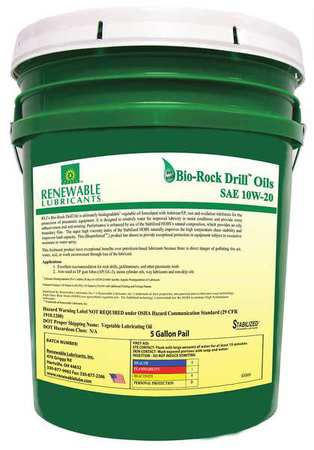 Renewable Lubricants Biodegradable Rock Drill Oil,  10W-20,  5 gal. 83004