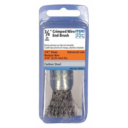 """Pferd 1"""" PSF Crimped End Brush - .014 CS Wire,  1/4"""" Shank 764442"""
