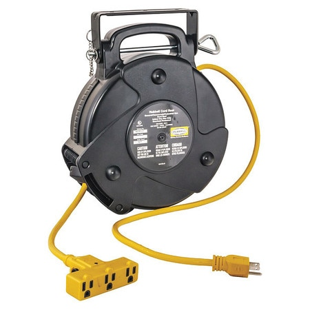 Hubbell Wiring Device-Kellems 40 ft. 12/3 Retractable Cord Reel 15 Amps 3 Outlets 120VAC Voltage HBLC40123TT