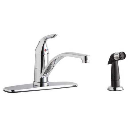 Surprising Manual Kitchen Faucet With Side Sprayer Chrome 1 Hole Lever Handle Ada Beutiful Home Inspiration Xortanetmahrainfo