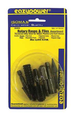Rotary File, Rasp, 1/4 in , 6 pcs