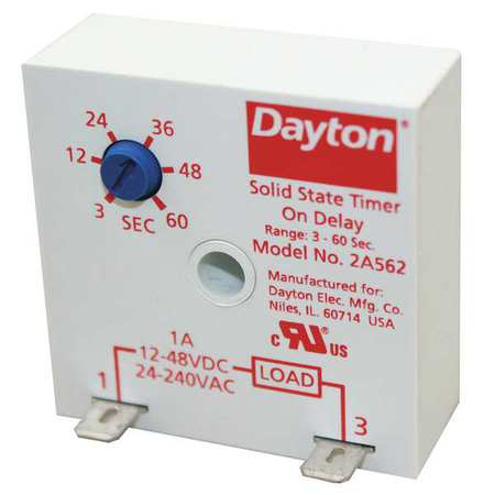 Dayton Encapsulated Timer Relay,  1A,  Solid State,  Standards: cURus 2A562