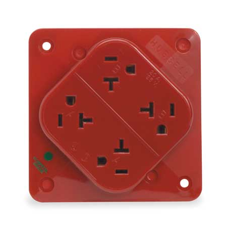 20A Quad Receptacle 125VAC 5-20R RD Wiring Quad Outlet on