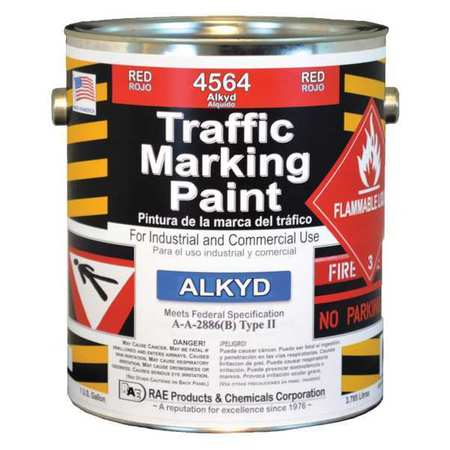 Rae Traffic Zone Marking Paint,  1 gal.,  Bright Red,  Alkyd Solvent -Based 4564-01
