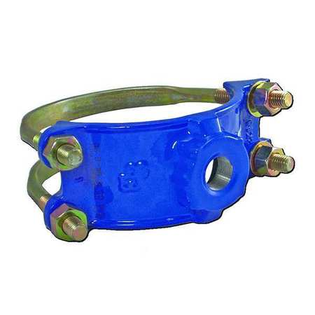 4 Pipe Size Smith-Blair Ductile Iron Saddle Clamp 1 NPT Female Outlet Double Bale