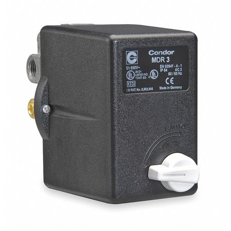 Condor Usa, Inc Pressure Switch,  (1) 3/8 in FNPT,  (3) 1/4 in FNPT,  (4) Port,  3PST,  45 to 160 psi,  Standard Action 31EG3ELX