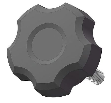 """Steel 1//4-20 Thread Size 0.625/""""L Fluted Knob with Screw"""