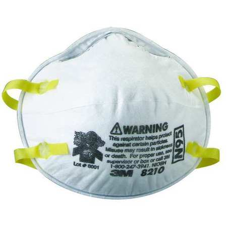3M N95 Disposable White Particulate Respirator 20pk. 8210
