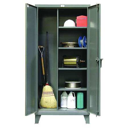 """Strong Hold 12 ga. Steel Storage Cabinet,  60"""" W,  78"""" H,  Janitorial,  Stationary 56-BC-244"""