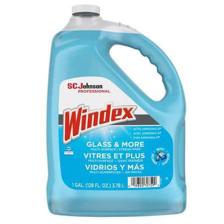 Windex Liquid Glass and Surface Cleaner,  1 gal.,  Blue,  Unscented,  Jug 696503