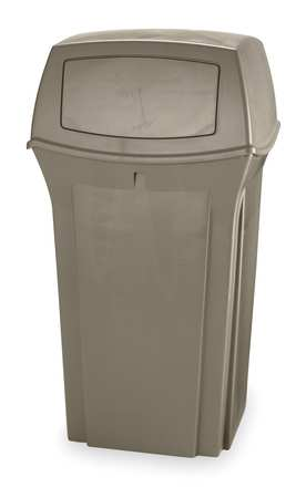 35 gal. Beige Plastic Square Trash Can