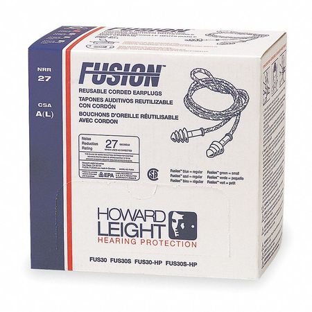 27dB Rated, HONEYWELL HOWARD LEIGHT FUS30S-HP Fusion® Corded Ear Plugs