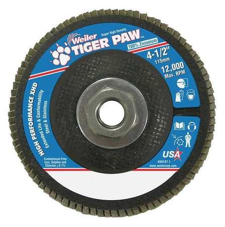 dia. WEILER 98805 Flap Disc,Type 27,4-1//2in 36 Grit