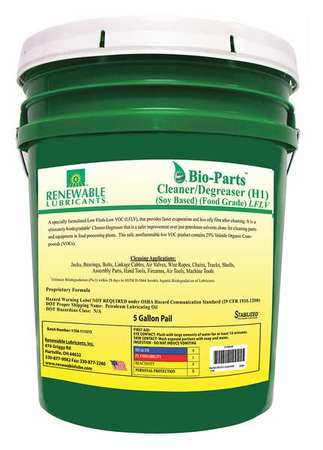 Renewable Lubricants Liquid 5 gal. Cleaner and Degreaser,  Pail 87594