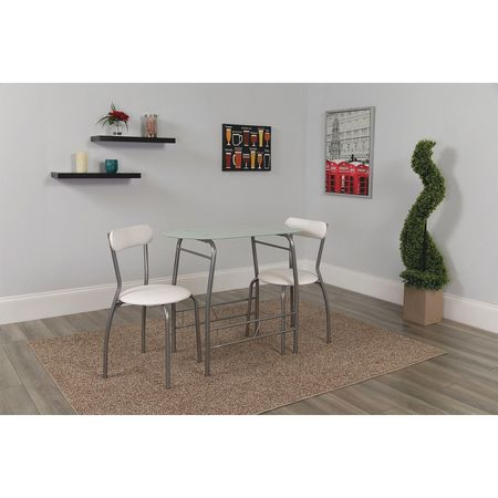 Flash Furniture Oval Bistro Table,  Glass Top,  White XM-JM-A0278-1-2-WH-GG