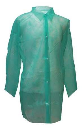 Action Chemical Disposable Lab Coat, XL, Green, PK30 A-GLC-XL