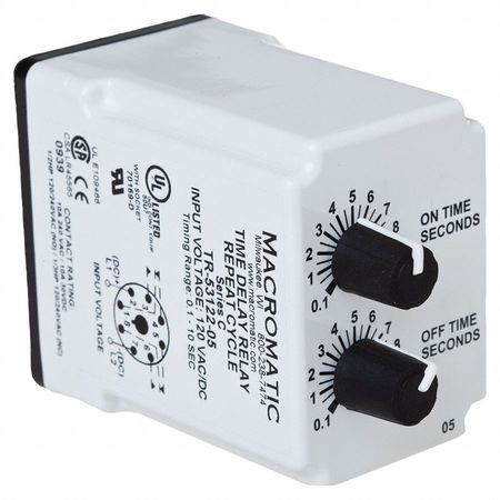Macromatic 10A Contact Amp Rating 240VAC Coil Volts TR-55121-14 Contact Form: DPDT Resistive Time Delay Relay