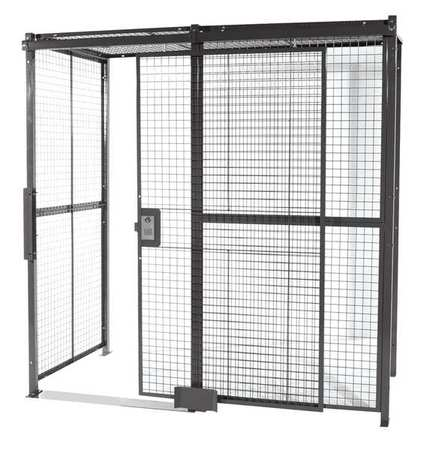 Wirecrafters Welded Wire Partition, 4 sided, Slide Door 20204RW