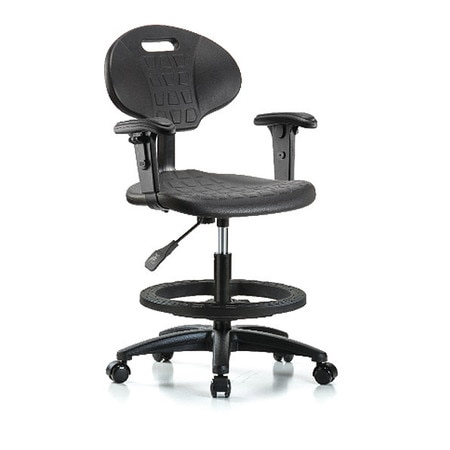 Awe Inspiring Erie Poly Chair Med Bench Foot Ring Arms Casters Black Caraccident5 Cool Chair Designs And Ideas Caraccident5Info