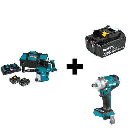 Makita Cordless Rotary Hammer, Battery Included XRH10PTW/XWT15Z/BL1850B