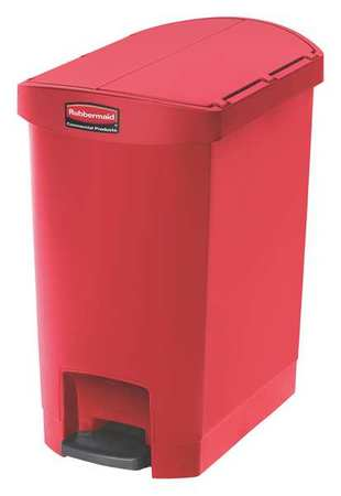 Rubbermaid 8 gal. Plastic Rectangular Step Can ,  Red 1883565