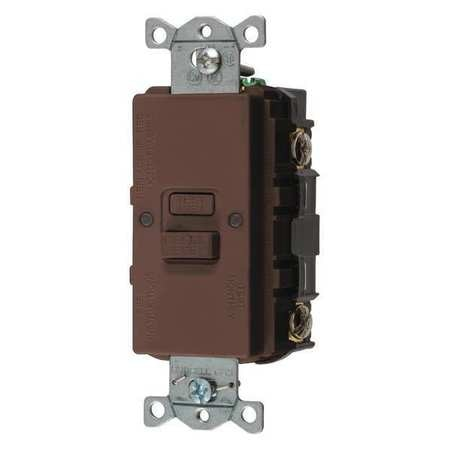 Hubbell Wiring Device-Kellems GFCI Receptacle, 20A, 125VAC, 5-20R, Brown GFBFST20