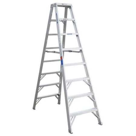 Werner 8 ft Aluminum Twin Stepladder,  300 lbs. Capacity T378