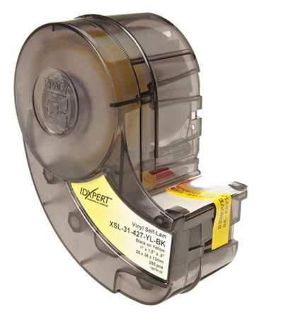 W BRADY XSL-31-427-YL-BK Printer Label,Vinyl,1-1//2 In