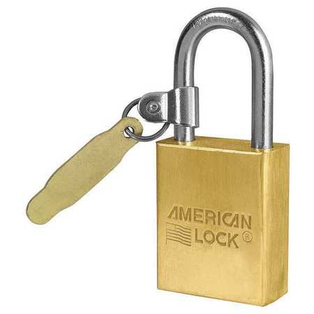 American Lock Padlock,  Keyed Different,  Long Shackle,  Rectangular Brass Body,  Boron Shackle,  3/4 in W A41TAG