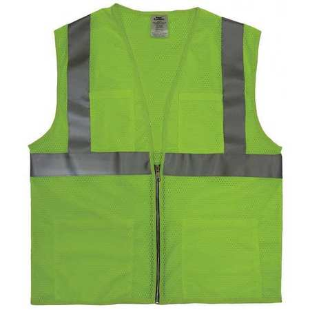 4XL Class 2 Cool Dry High Visibility Vest,  Lime