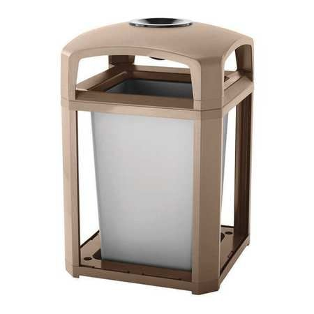 35 gal. Brown Polycarbonate Square Landmark Dome Trash Can Frame with Liner
