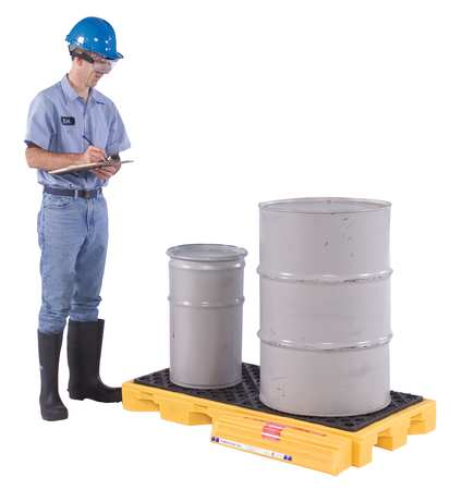 Ultratech Drum Spill Containment Pallet,  88 gal Spill Capacity,  2 Drum,  3000 lb.,  Polyethylene 2329