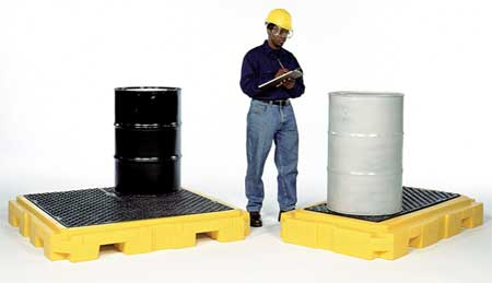 Ultratech Drum Spill Containment Pallet,  66 gal Spill Capacity,  2 Drum,  4500 lb,  Polyethylene 9610