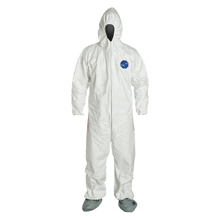 Dupont Hooded Disposable Coveralls ,  3XL ,  White ,  Tyvek(R) 400 ,  zipper TY122SWH3X0025VP